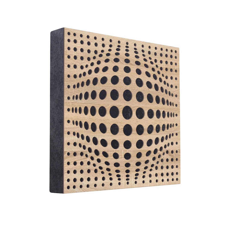 Panel akustyczny, absorber, panel pochłaniający FiberPro 60cm x 60 cm czarny z frontem acousphere w kolorze dąb sonoma