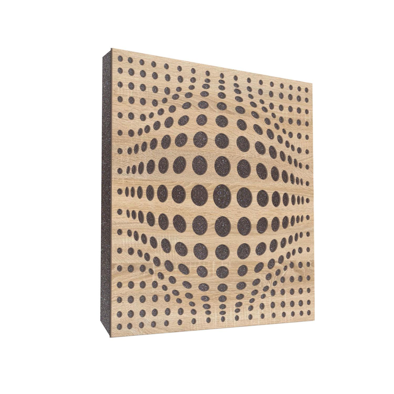 Panel akustyczny, absorber, panel pochłaniający FoamPro 60cm x 60 cm grafit z frontem acousphere w kolorze dąb sonoma