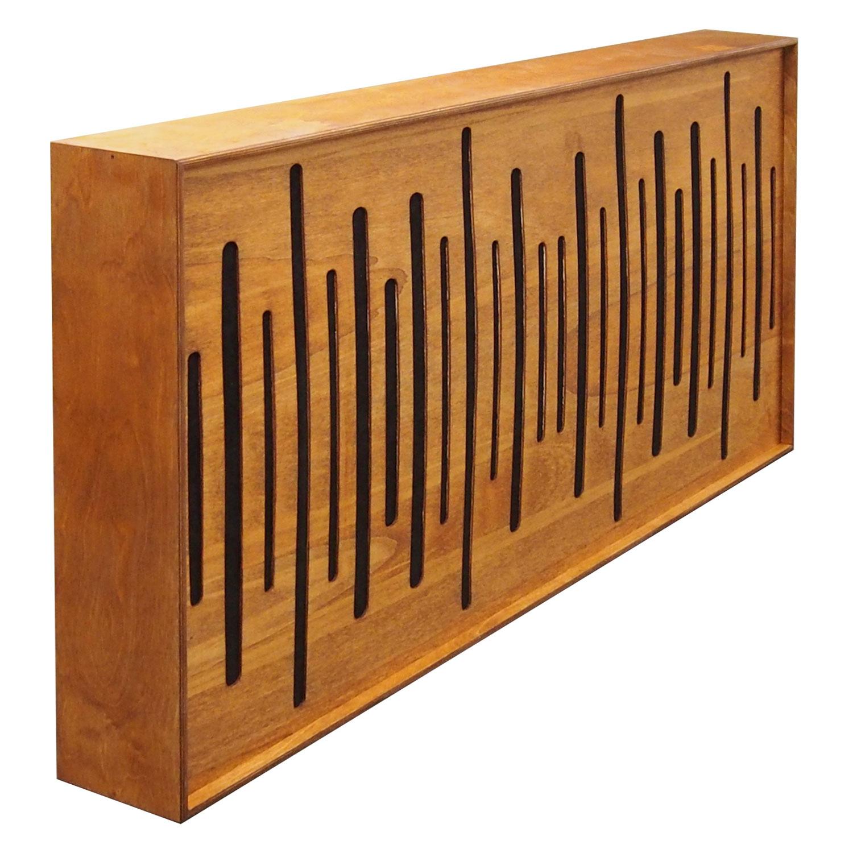 """Panel akustyczny, absorber, panel pochłaniający FiberExellentPro 120cm x 60 cm w kolorze Tik z frontem """"Widmo"""" wykończonego czarną tkaniną"""