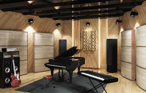 Studio Nagrań z panelami akustycznymi